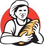Baker Holding Bread Loaf rétro Image libre de droits