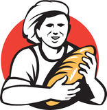 Baker Holding Bread Loaf Retro Royalty Free Stock Image