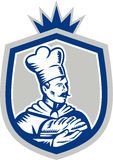 Baker Holding Bread Loaf Woodcut Crest Stock Photography