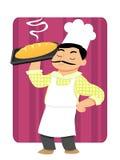 Baker Holding Bread sur le plateau illustration libre de droits