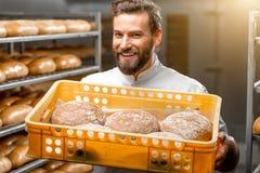 Baker holding breads at the manufacturing. Handsome baker holding box full of freshly baked buckweat breads at the manufacturing royalty free stock image