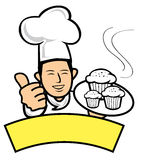 Baker. A baker holding hot muffins Royalty Free Stock Images