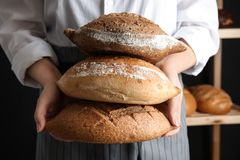 Baker holding loaves of bread indoors. Closeup royalty free stock photo