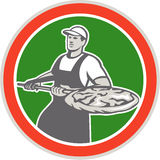 Baker Holding Peel With Pizza Circle Retro Royalty Free Stock Photography