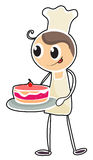A baker holding a tray of cake Royalty Free Stock Photography