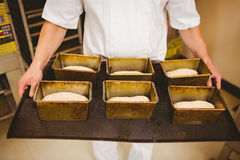 Baker holding tray of loaf tins Royalty Free Stock Photo