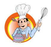 Baker holding wedding cake and whisk with spoon behind ear Royalty Free Stock Photo