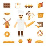 Baker icons flat Stock Images