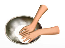 A Baker Kneading Dough in Mixing Bowl Royalty Free Stock Photo