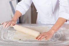 Baker kneading dough Royalty Free Stock Photo
