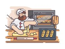 Baker kneads and cooking dough. Cook prepares pastries in kitchen. Vector illustration Stock Photo