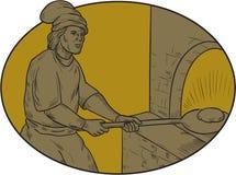 Baker médiéval Bread Peel Wood Oven Oval Drawing illustration de vecteur