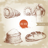 Baker making fresh bread in stone oven, cream roll, fresh baguette and flour sack. Hand drawn set bakery illustrations. Baker making fresh bread in stone oven Royalty Free Stock Images