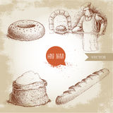 Baker making fresh bread in stone oven, sesame bagel, fresh baguette and flour sack. Hand drawn set bakery illustrations. Baker making fresh bread in stone oven stock illustration