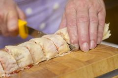 Baker Making Strudel, Close Up Royalty Free Stock Images