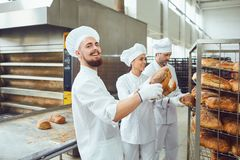 Baker man holding fresh bread in a bakery. stock images