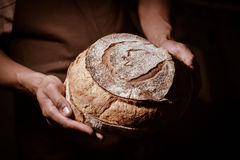 Baker man holding a round bread Royalty Free Stock Image