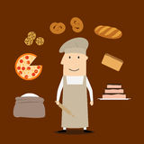 Baker man with pastry and bakery Royalty Free Stock Photography
