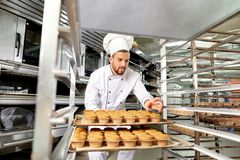 Baker man with a tray of cupcakes in his hands at work in Christ Royalty Free Stock Photography