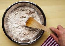 Baker mixing traditional Irish Soda Bread stock photo