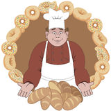 Baker offers the bread or buns.  Stock Photo