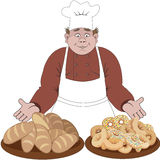 Baker offers the bread or buns.  Royalty Free Stock Photography