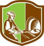 Baker Peel Bread Pan Shield Retro illustration de vecteur