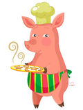 Baker piggie. Cartoon pig serving freshly baked cookies Royalty Free Stock Photography