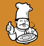Baker and pizza. A baker holding hot pizza graphic style Royalty Free Stock Photo