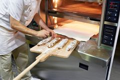 Baker prepares bread for baking royalty free stock image