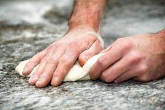 Baker prepares bread dough. The baker prepares bread dough Royalty Free Stock Photo