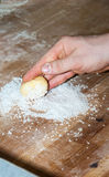 Baker preparing brioche dough. Baker preparing brioche with sugar Royalty Free Stock Photography