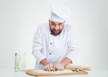 Baker preparing dough for pastry Stock Photo