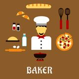Baker profession concept with bakery ingredients Royalty Free Stock Photos