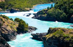 Baker River. Patagonia of Chile in the Region of Aysen. Austral road. Chile. Landscape of chile patagonia in Aysen Region. Chile. Cochrane Commune. You can see stock photo