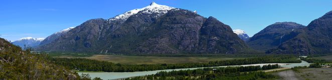 Baker River valley, a glacial river in Southern Chile's Patagonia. The Baker River is a river located in the Aysen Region of the Chilean Patagonia. It is stock images