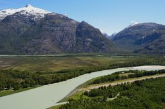 Baker River valley, a glacial river in Southern Chile's Patagonia. The Baker River is a river located in the Aysen Region of the Chilean Patagonia. It is royalty free stock photography