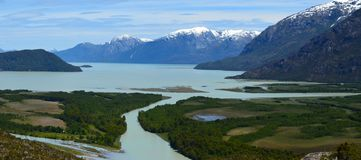 Baker River valley, a glacial river in Southern Chile's Patagonia. The Baker River is a river located in the Aysen Region of the Chilean Patagonia. It is royalty free stock image