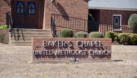 Baker`s Chapel Church Sign, Hernando, Mississippi. Baker`s Chapel United Methodist Church and Worship Center located in Hernando, Mississippi stock photo