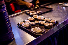 A Baker`s Dozen of Fresh Shucked Raw Oysters royalty free stock image