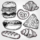 Baker shop and pastry icons set in vintage style. Stock Image