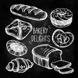 Baker shop and pastry icons set in vintage style. Royalty Free Stock Photos