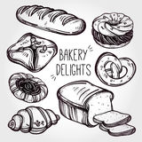 Baker shop and pastry icons set in vintage style. Royalty Free Stock Photo