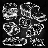 Baker shop and pastry icons set in vintage style. Stock Photography