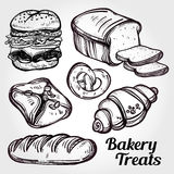 Baker shop and pastry icons set in vintage style. Stock Images