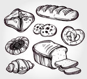 Baker shop and pastry icons set in vintage style. Hand drawn highly detailed pastry products. Isolated vector illustration. Food elements. Excellent template Stock Photos