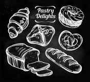 Baker shop and pastry icons set in vintage style. Royalty Free Stock Image