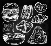 Baker shop and pastry icons set in vintage style. Royalty Free Stock Images