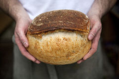 Baker with soda bread. A Baker holds a loaf of soda bread in his hands royalty free stock photos