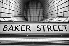 Baker Street Tube. Station, Platform name sign. The first underground tube station in London royalty free stock photos